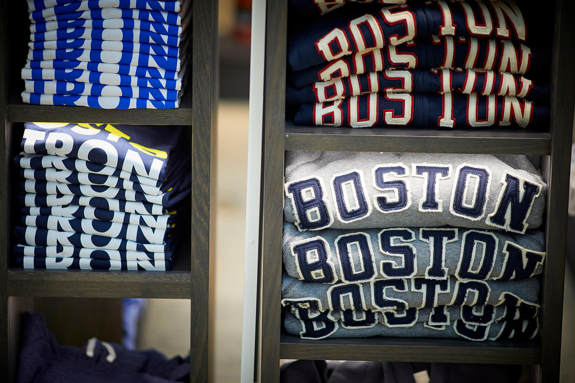 Folded Boston merchandise