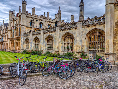 Bicycles parked outside Kings College Chapel, Cambridge, UK