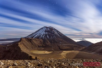 Mount Ngauruhoe at night with moonlight, Tongariro, New Zealand