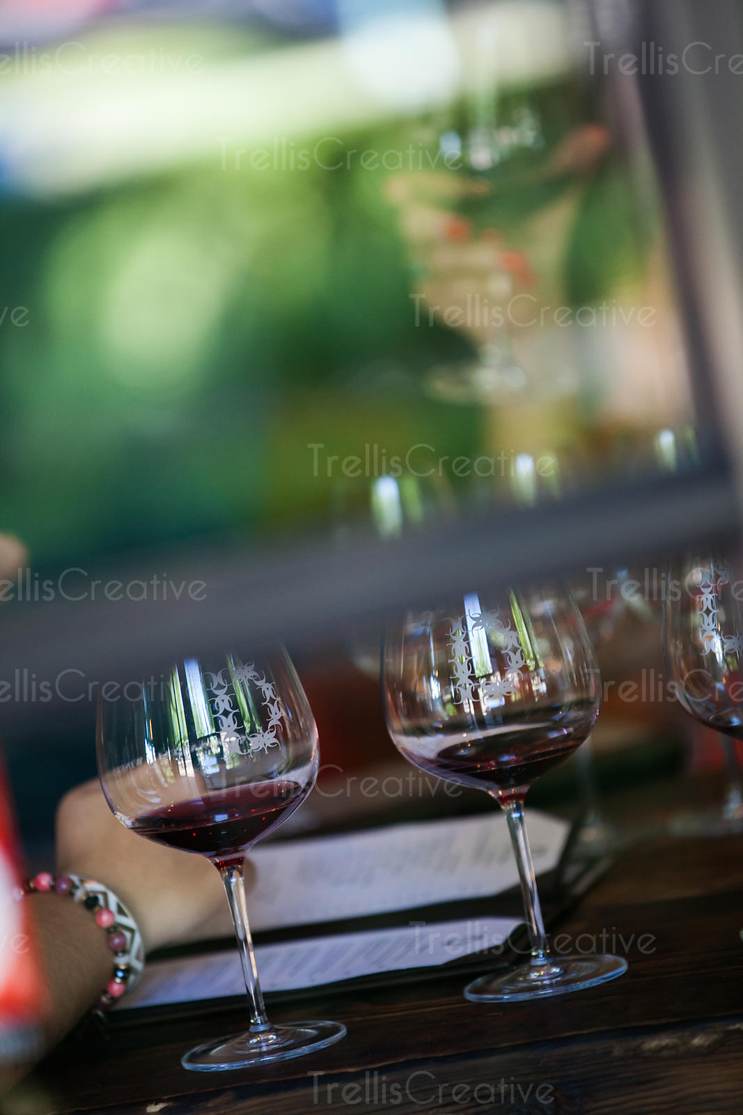 Red wine glasses on a table at dinner