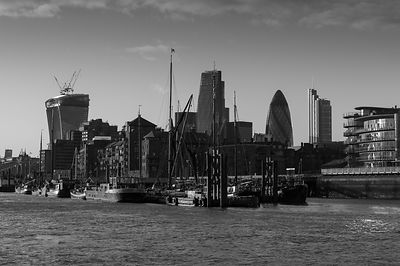 City of London river barges Wapping B&W version