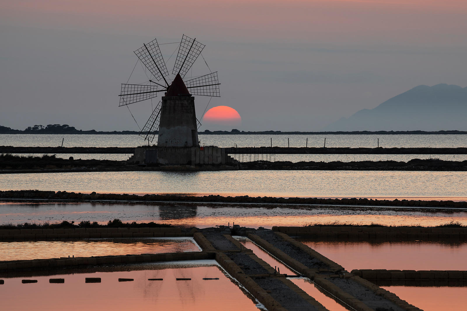 Saline and Windmill at the Laguna dello Stagnone
