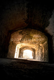 An atmospheric image of a dirty, dark underground passage, stretching off into the daylight.