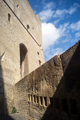 The battlements of the Castel Nuovo, Naples, Italy