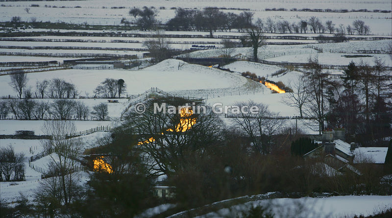 Early morning sun on the snow-covered Lyth Valley, December, Cumbria, England