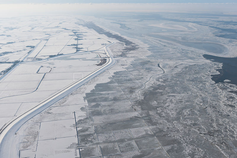 Aerial view of ice on the Wadden Sea, North Sea, Schleswig-Holstein, Germany February 2012
