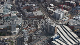 Leeds aerial photograph looking down Boar Lane towards  Park Plaza and Leeds Railway Station and the area of Bishopgate Stree...