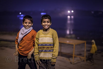 Portrait of two boys along the Ganges River at Sovabazar Ghat, Kolkata, India.