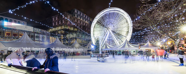 The Christmas ice rink and big wheel outside the Library of Birmingham in Centenary Square.