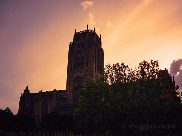 Liverpool Cathedral under a Golden Sky