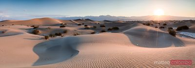 Panoramic of Mesquite Flat Sand Dunes, Death valley, USA
