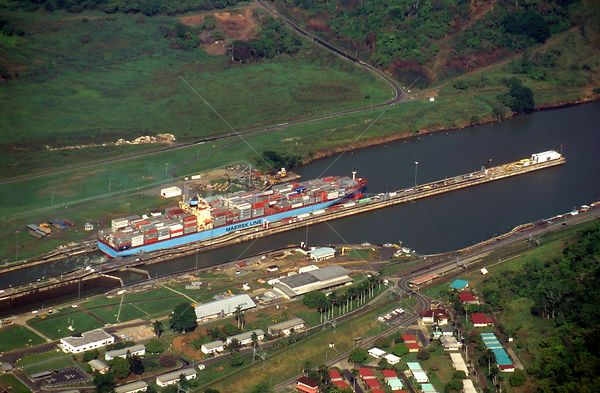 PANAMA Miraflores Locks -- 1996 -- Aerial view of ships transiting the Miraflores and Pedro Miguel locks of the Panama Canal ...
