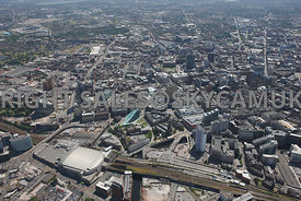 Manchester High Level View of the NOMA regeneration and redevelopment area and Manchester Arena and Victoria railway station ...