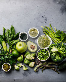 Healthy Green food Clean eating selection Protein source for vegetarians: avocado, asparagus, apple, broccoli, spinach, spiru...