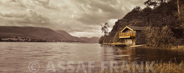 Boat house on lake, lake district national park, UK