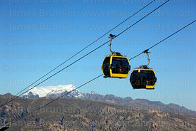 Yellow Line cable car gondolas above Mt Mururata, Cordillera Real, Bolivia
