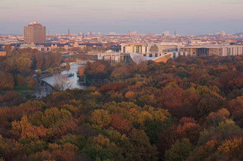 Aerial view from Siegessaeule of the Tiergarten Park, River and city centre, Berlin, Germany. November 2009