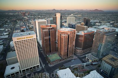 Aerial photograph of downtown Phoenix, Arizona at sunset