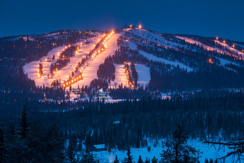 Skiing resort Syöte, the southern most fell in Finland