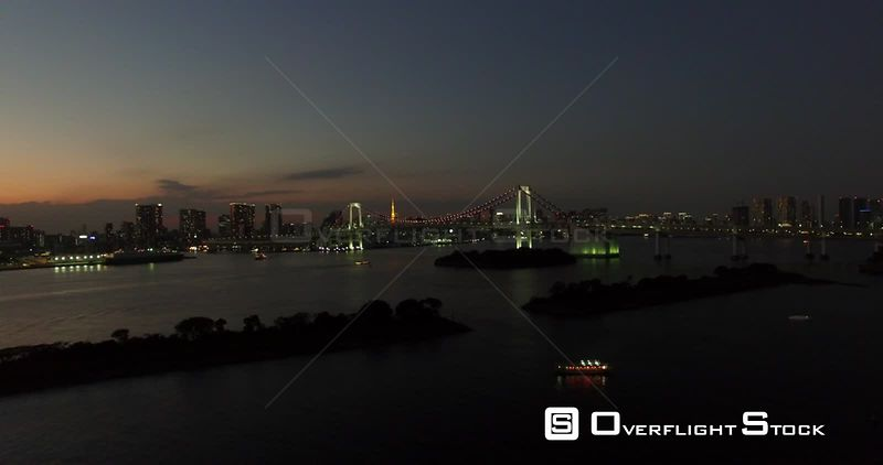 Night Drone Video Tokyo Japan Bridge and City Skyline