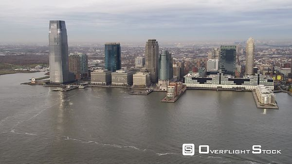 Aerial view of Jersey City from over the Hudson River.