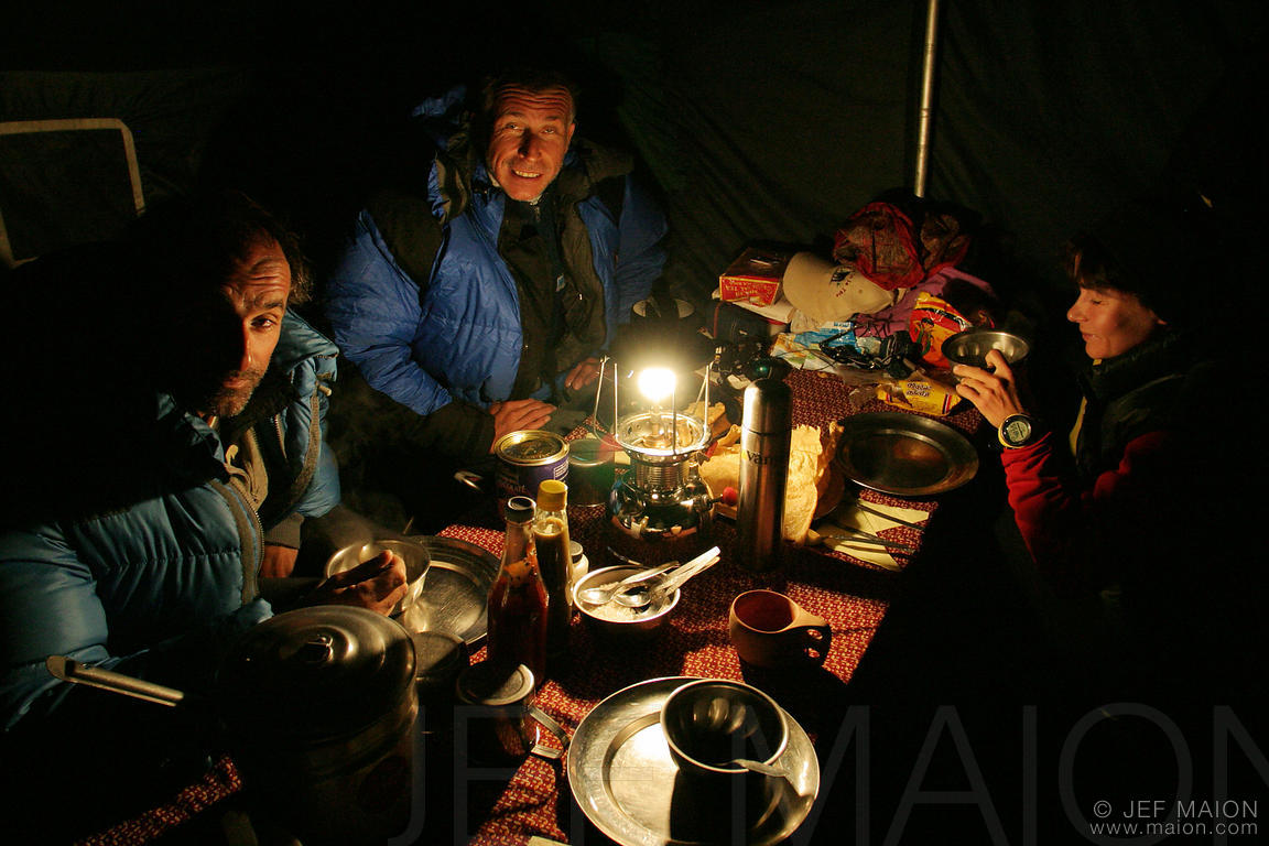 Eating dinner at base camp