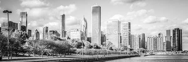 Panoramic Chicago Skyline Black and White Photo