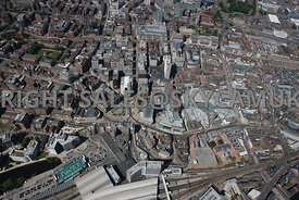 Leeds high level steep angled aerial photograph of central Leeds centered on City Square