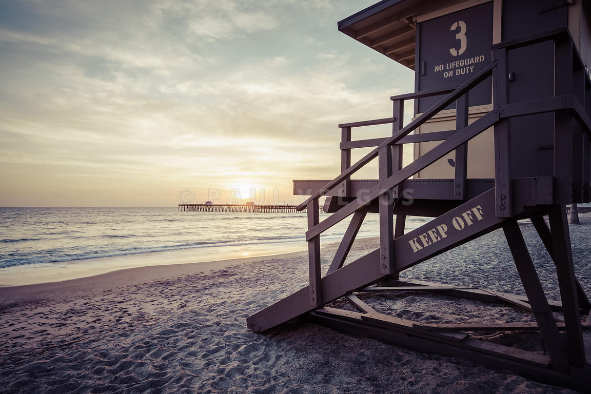 San Clemente Lifeguard Tower 3 Sunset Picture
