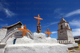 Cairn with 3 crosses in front of Santo Tomás church, Isluga village, Isluga National Park , Region I , Chile
