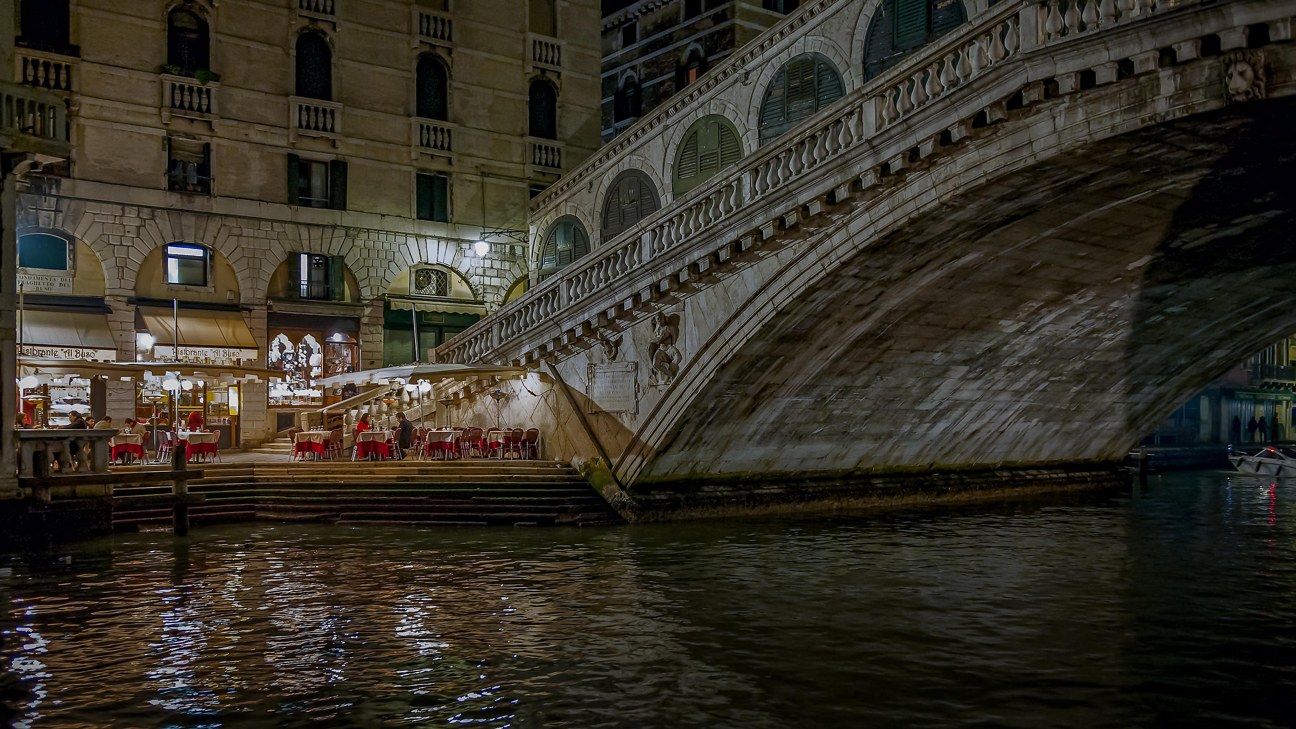 Romantic Diners at the Rialto Bridge, Venice