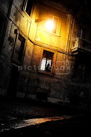 An atmospheric image of a woman in the window of an old building at night.