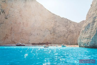 Famous shipwreck beach with tourists. Zakynthos, Greek Islands, Greece