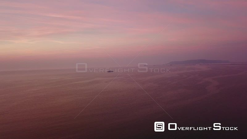 Naval Vessel Weymouth Dorset Sunset Drone Video Southern England