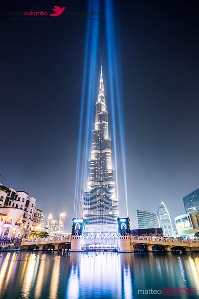 United Arab Emirates, Dubai. Burj Khalifa at dusk, with light show