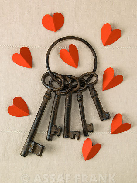 Old keys on a key ring with hearts