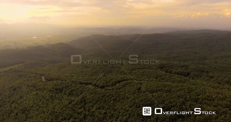 Aerial footage, beautiful green landscape with wood on the hills in Tuscany, Italy, 4K