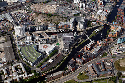 aerial photograph of  Clarence Dock  and vicinity in Leeds Yorkshire England UK