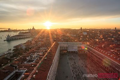 Sunset over St Mark's square Venice Italy
