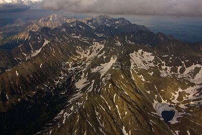 Aerial view of the heart of the High Tatras, culminating with Mount Gerlach (2,665m) the highest peak on the right, High Tatr...