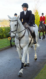 Rosie Cass leaving the meet - The Quorn at Barrowcliffe Farm