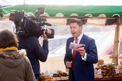 Presenter Jon Kay fronts BBC Breakfast live from Banbury market after the EU referendum