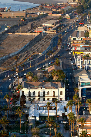 Aerial view of now unoperational Arica to La Paz railway terminal and disused tracks from El Morro headland, Arica, Region XV...