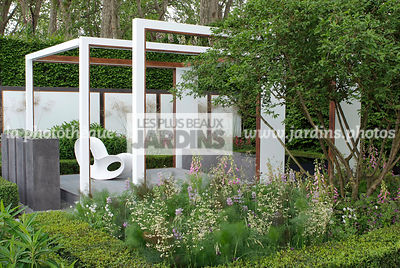 Buxus, Chair, Contemporary garden, Digital, Garden furniture, Pergola, Resting area, Terrace, Common Box, Contemporary Terrace