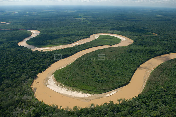 Aerial view of Ichilo River, meanders and tropical rainforest, Santa Cruz Department, Bolivia.
