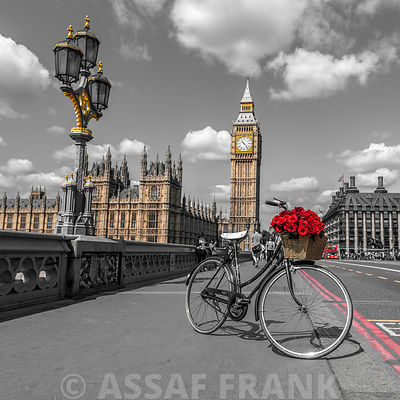 Bicycle with bunch of flowers on Westminster Bridge, London, UK