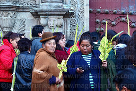 Women holding crosses and ornaments made out of palm leaves outside San Francisco church before mass on Palm Sunday, La Paz, ...