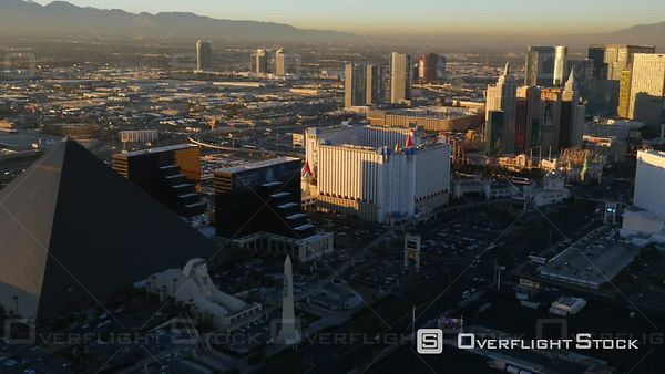Las Vegas, Nevada, USA  Aerial Footage of Las Vegas Strip at Sunset