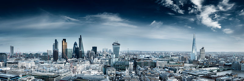 Panoramic view of the City Skyline, London, England, UK