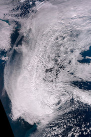 EARTH USA -- 29 Oct 2012 -- Hurricane Sandy approaches the densely populated US East Coast.